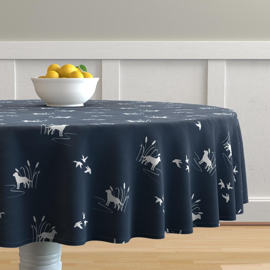 Malay Round Tablecloth featuring Dog Ducks hunting scene Dark Navy by mrshervi