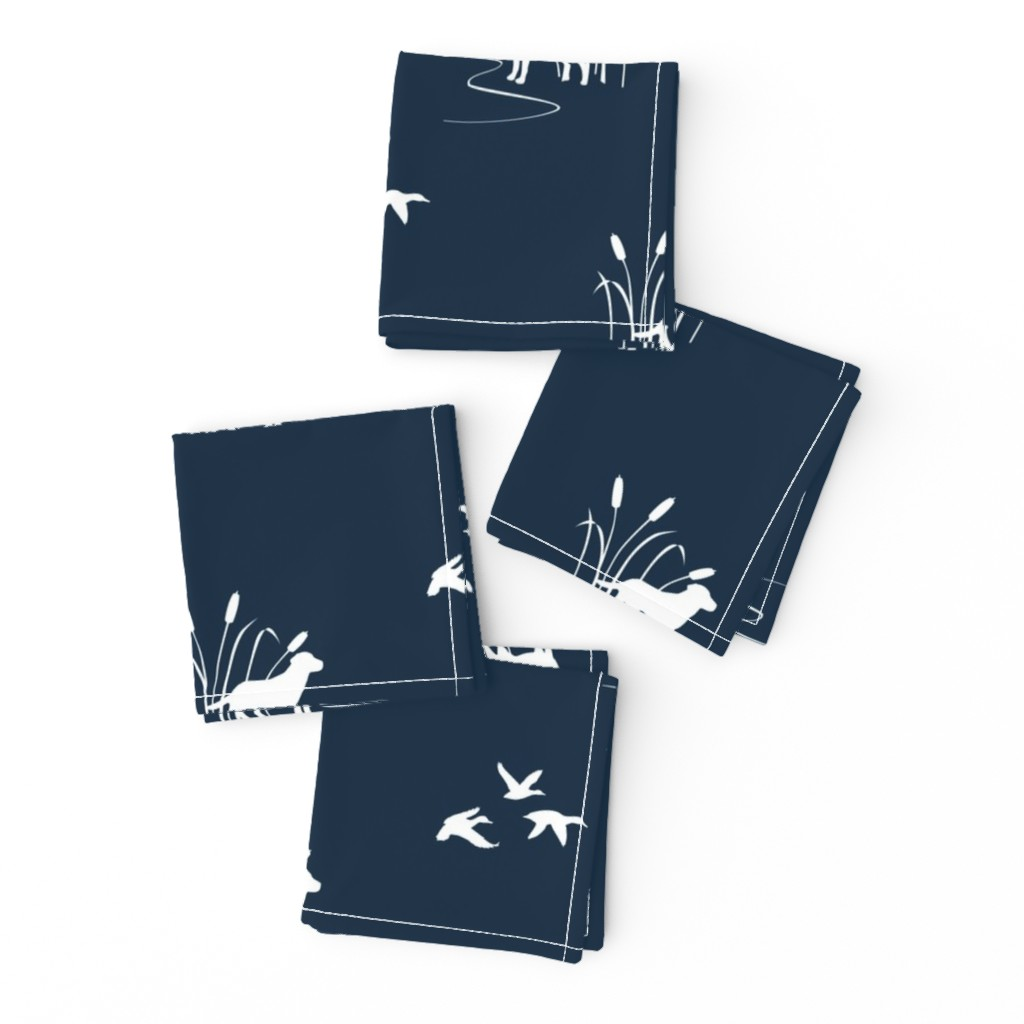 Frizzle Cocktail Napkins featuring Dog Ducks hunting scene Dark Navy by mrshervi
