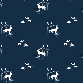 Dog Ducks hunting scene Dark Navy