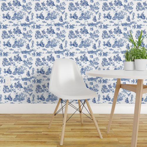 Stupendous Wallpaper Alice Blue Toile De Jouy Large Machost Co Dining Chair Design Ideas Machostcouk