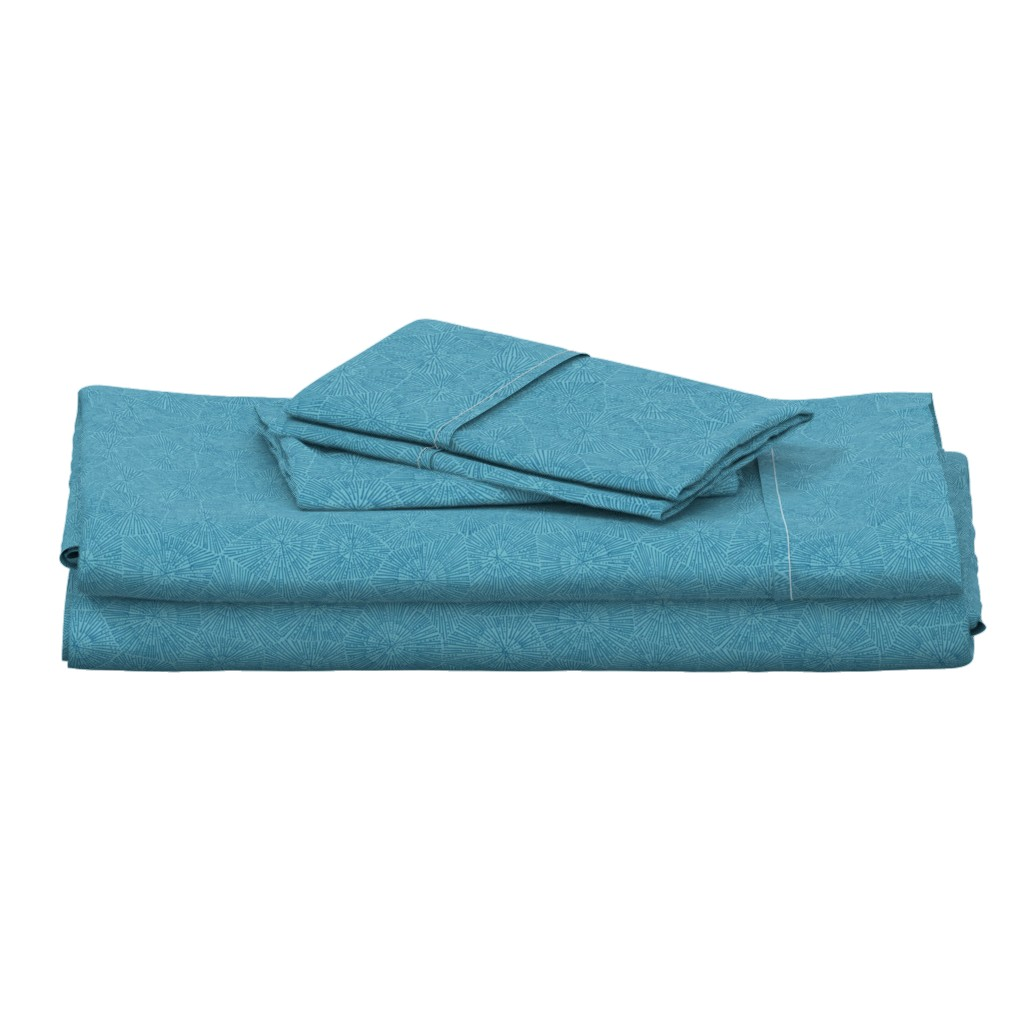 Langshan Full Bed Set featuring extra-large petoskey stone pattern in blue on aqua by weavingmajor