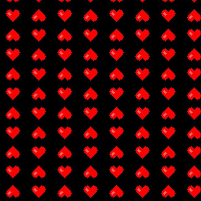 8-Bit Heart ~ Stripes ~ Libertine and Royal Scandal on Black