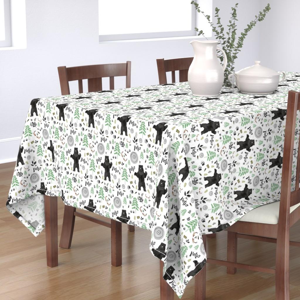 Bantam Rectangular Tablecloth featuring Hello Woodland Watercolor Bear by shopcabin