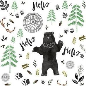 Hello Woodland Watercolor Bear