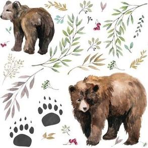 Watercolor Mama Bear & Cub in the Woods