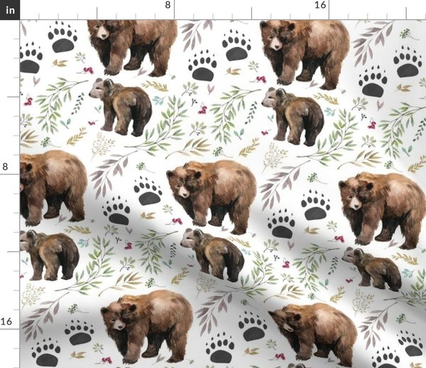 7e8db28da151 Fabric by the Yard Watercolor Mama Bear & Cub in the Woods