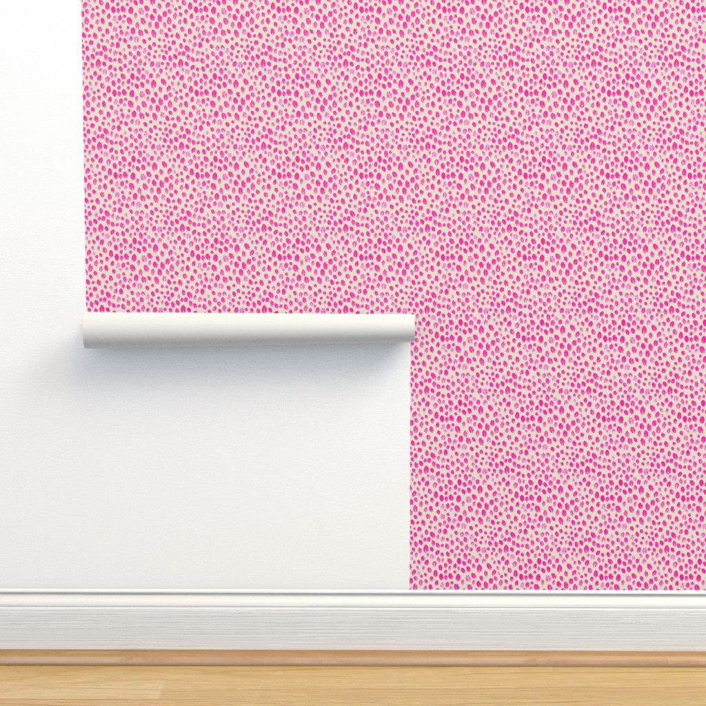 Isobar Durable Wallpaper featuring little leaves - hotpink/white/sand by cinneworthington