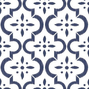 Navy & White Ikat Moroccan Flower