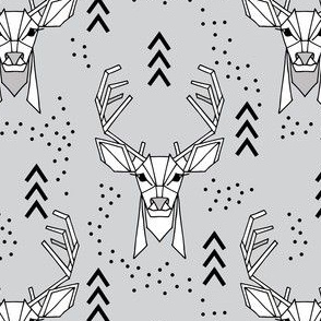 Deer geometric // Grey and Black