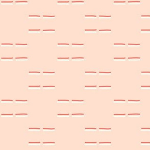 Coral and Mint Green Dashed Lines on Soft Blush Pink Background