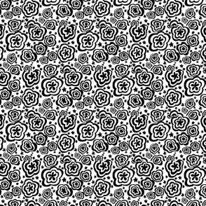 Torque Flowers White and Black