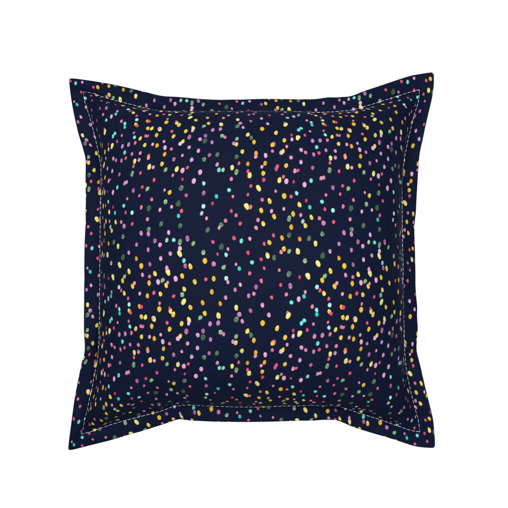 Serama Throw Pillow featuring Watercolor rainbow dots in navy by thislittlestreet