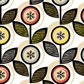 Footnote Flower || midcentury modern garden floral flowers leaves nature upholstery