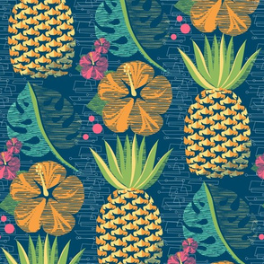 Tropical Pineapple Tiki-Teal12 3/4