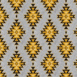 Aztec Kilim Stone - Black,gold,grey