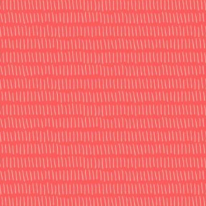 Dashed Stripe in Coral Red
