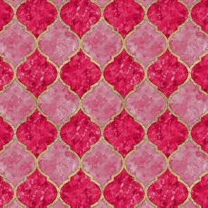 Rose & Faux Gold Quatrefoil - Seamless - Small