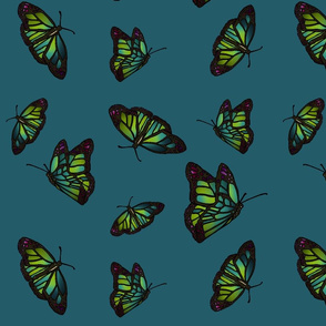Butterflies on turquoise background