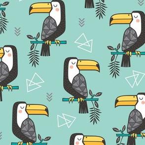 Toucan Bird Tropical Geometric Triangles on Mint Green