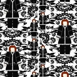Zacheus Black and White Colonial Gentleman & Flowers Fabric 5