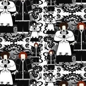 Ursula & Zacheus Black & White Colonial Dolls & Flowers Fabric 3