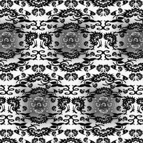 Ursula & Zacheus Black & White Colonial Dolls & Flowers  Fabric 2