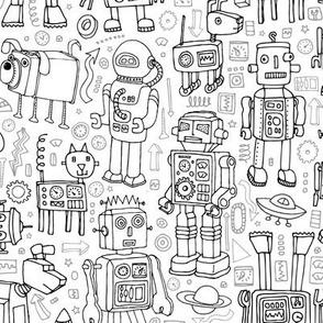 Robot pattern - black and white - Medium