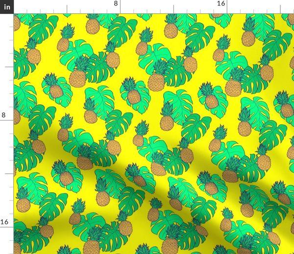 601d75fa Fabric by the Yard. Pineapple and Monstera Leaves on Yellow Hawaiian Shirt  Print