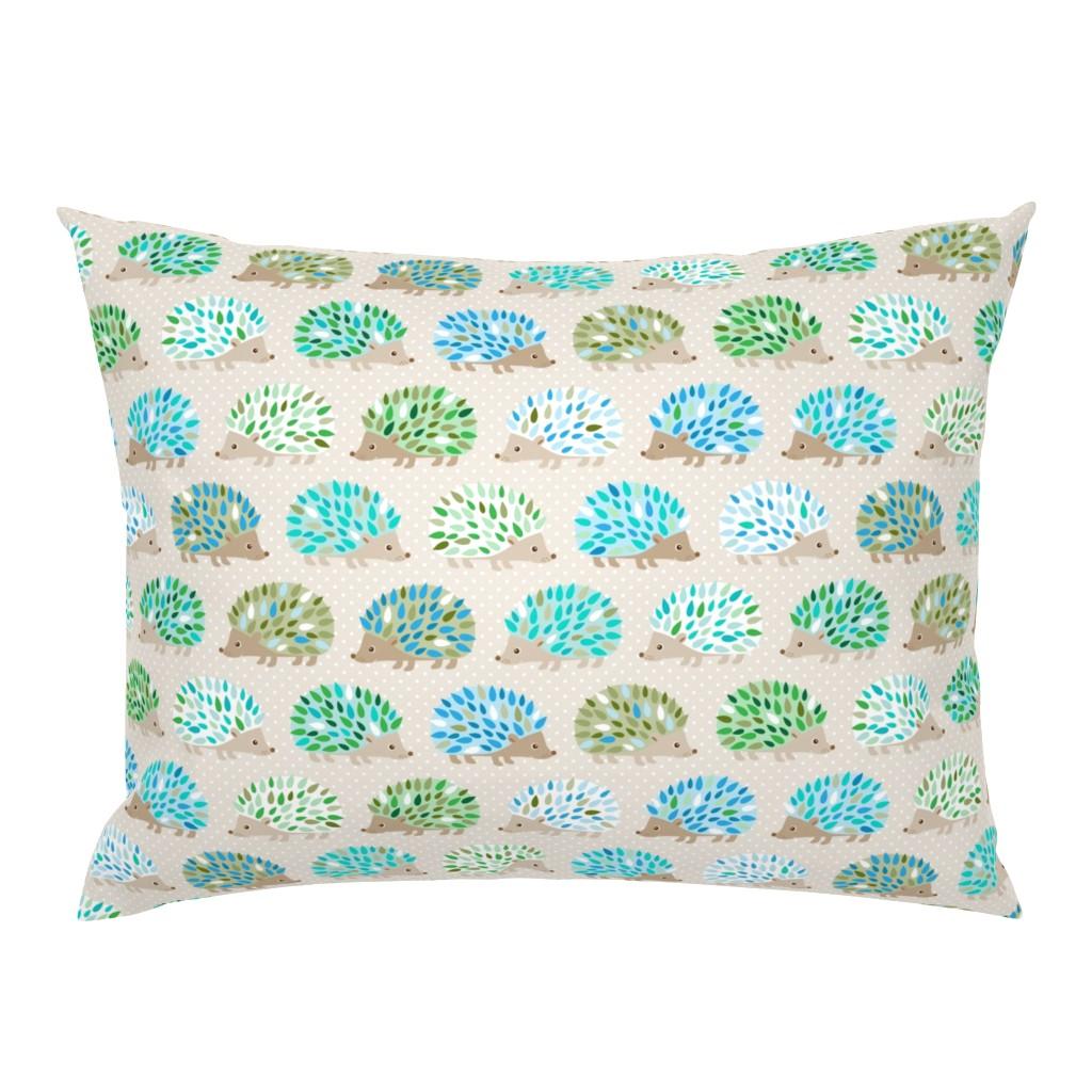 Campine Pillow Sham featuring Hedgehog polkadot - blue and green by heleenvanbuul