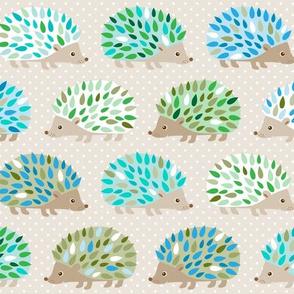 Hedgehog polkadot - blue and green