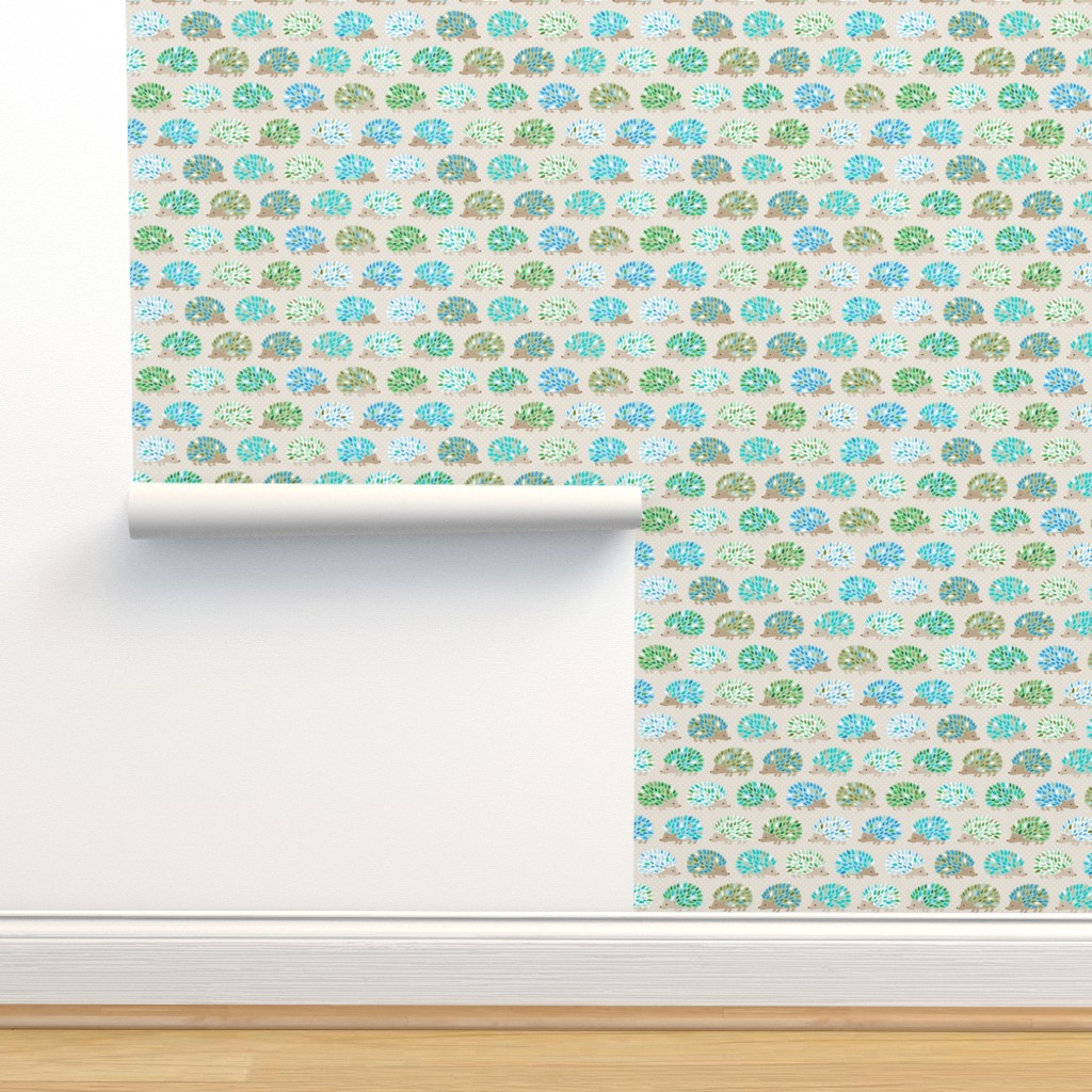 Isobar Durable Wallpaper featuring Hedgehog polkadot - small blue by heleenvanbuul