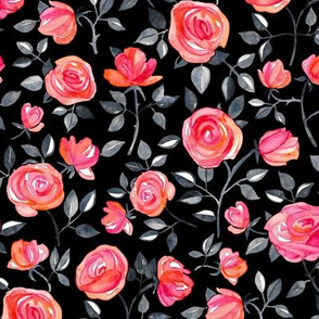 Roses on Black - a watercolor floral pattern - small