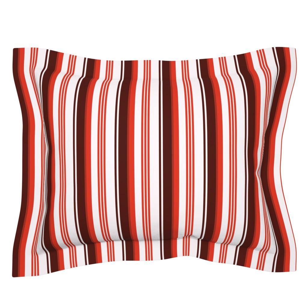 Sebright Pillow Sham featuring Stylized Flower Matching Stripe - 4in (red) by studiofibonacci