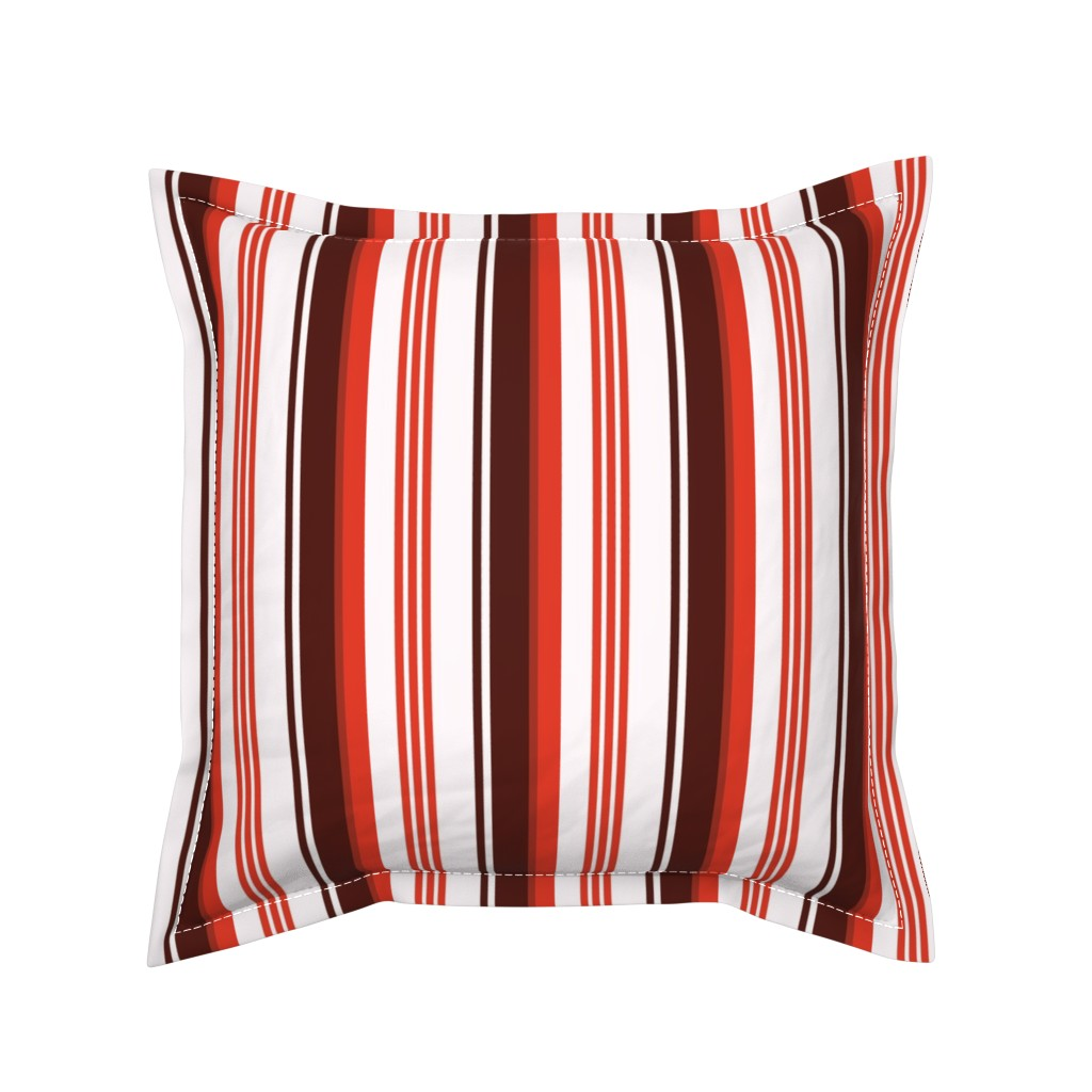 Serama Throw Pillow featuring Stylized Flower Matching Stripe - 4in (red) by studiofibonacci