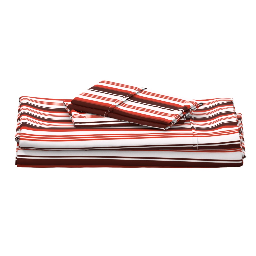Langshan Full Bed Set featuring Stylized Flower Matching Stripe - 4in (red) by studiofibonacci