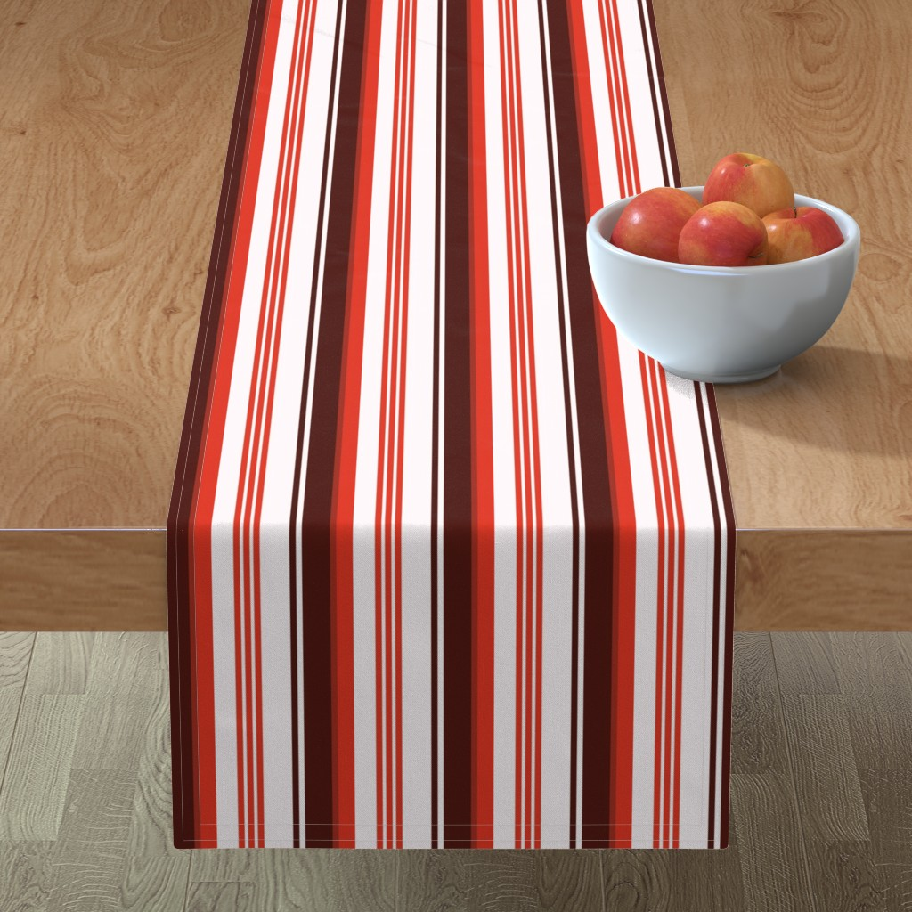Minorca Table Runner featuring Stylized Flower Matching Stripe - 4in (red) by studiofibonacci