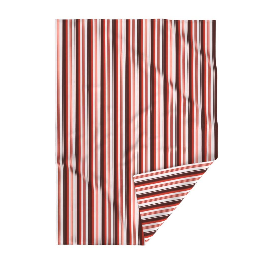Lakenvelder Throw Blanket featuring Stylized Flower Matching Stripe - 4in (red) by studiofibonacci