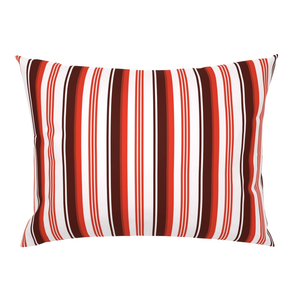 Campine Pillow Sham featuring Stylized Flower Matching Stripe - 4in (red) by studiofibonacci