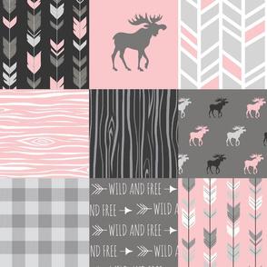Moose Quilt - pink, grey, black - lighter