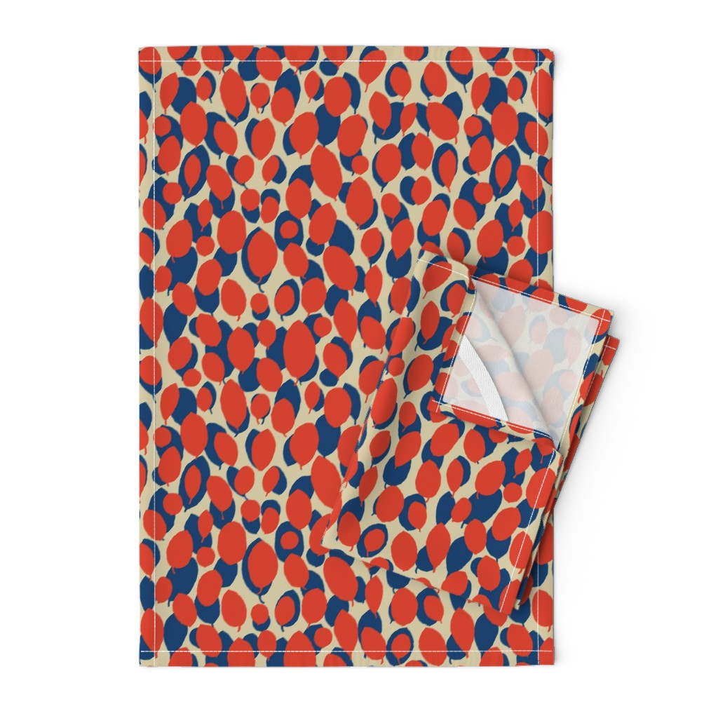 Orpington Tea Towels featuring leaf relief - china red/ocean/sand by cinneworthington
