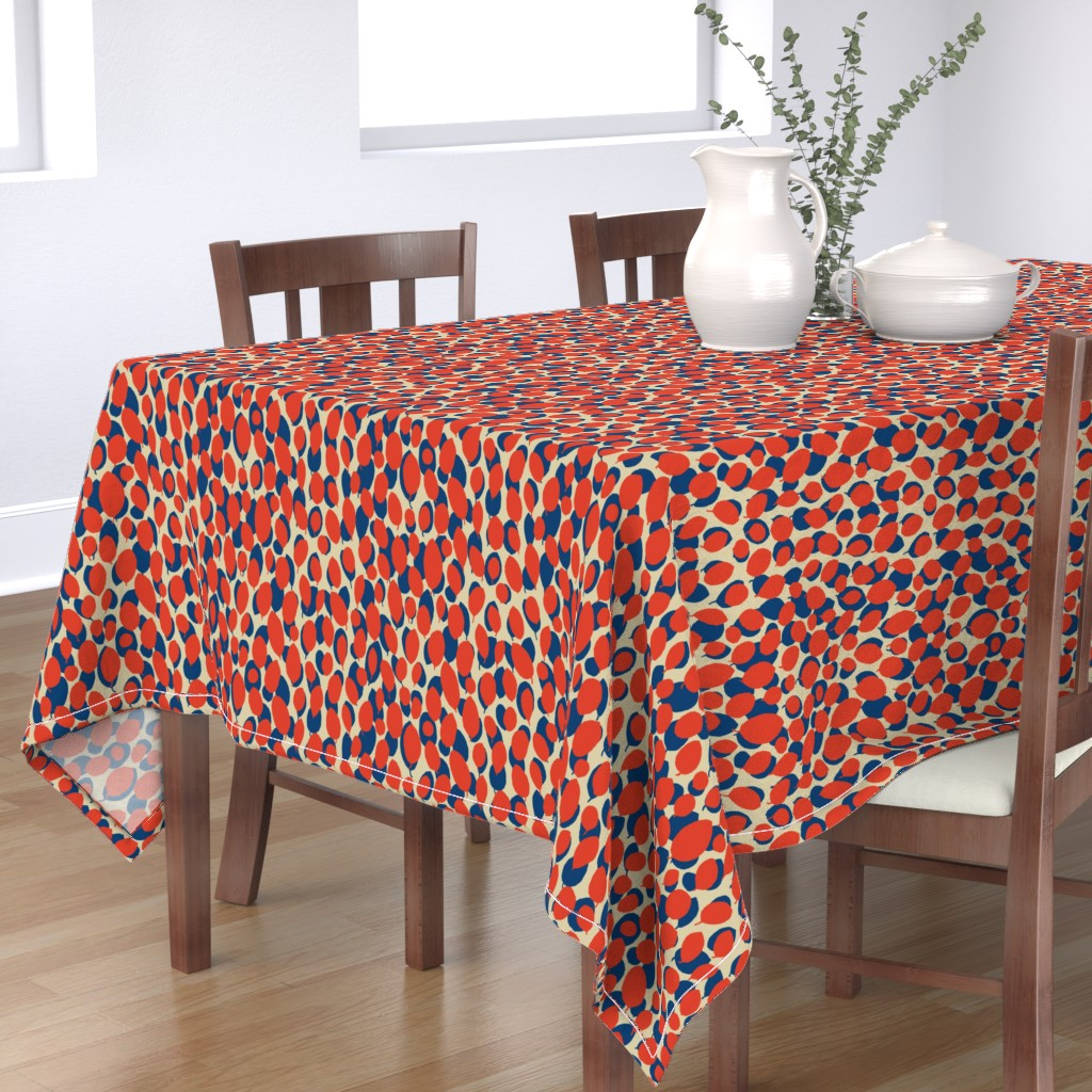 Bantam Rectangular Tablecloth featuring leaf relief - china red/ocean/sand by cinneworthington