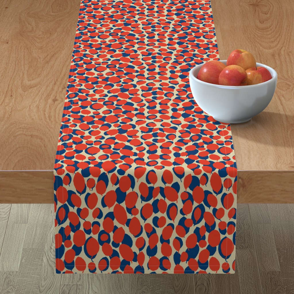 Minorca Table Runner featuring leaf relief - china red/ocean/sand by cinneworthington