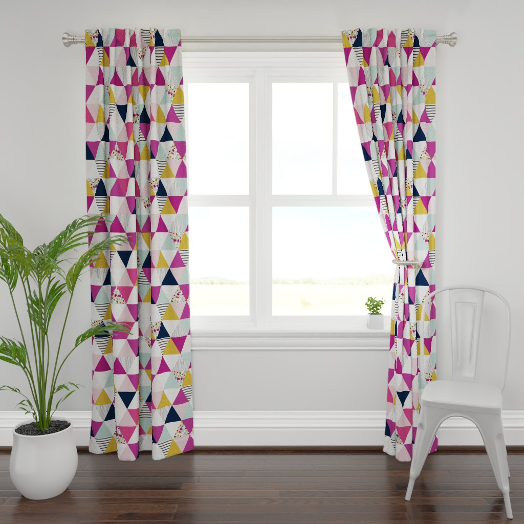 Plymouth Curtain Panel featuring Floral Triangle Wholecloth - Josie Meadow by sweeterthanhoney