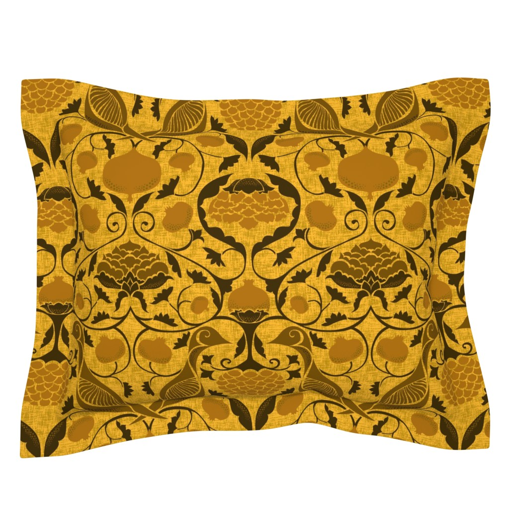 Sebright Pillow Sham featuring Partridges and Pomegranates - Golds by ceciliamok