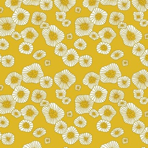 Colorful retro summer blossom scandinavian vintage style florals illustration print in mustard XS