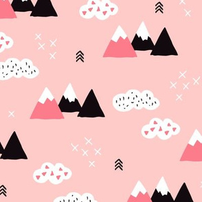 Girls fuji mountain geometric landscape with soft pastel colors and white clouds