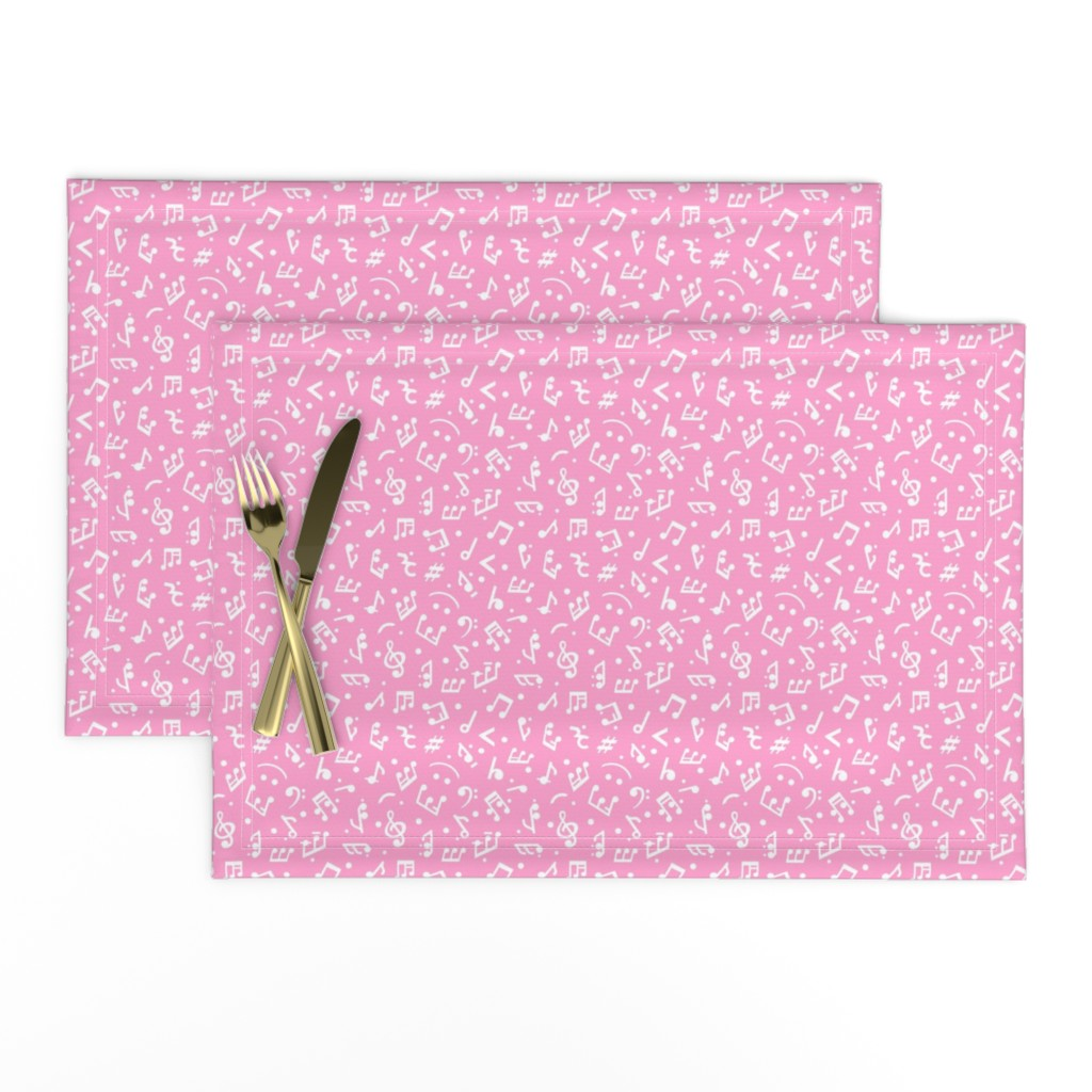 Lamona Cloth Placemats featuring Music Notes on Pink BG in tiny scale by happyart