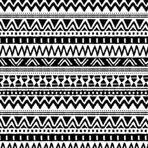Geometric monochrome strokes lines triangles and zigzag dots aztec patchwork back and white