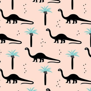 Sweet dinosaurs and palm trees scandinavian style kids fabric mint black and white