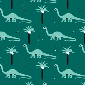 Sweet dinosaurs and palm trees scandinavian style kids fabric green mint